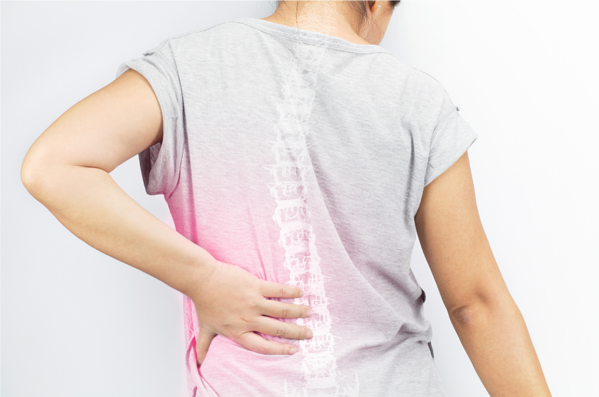 Woman with osteoporosis back pain, Connected Health Platform