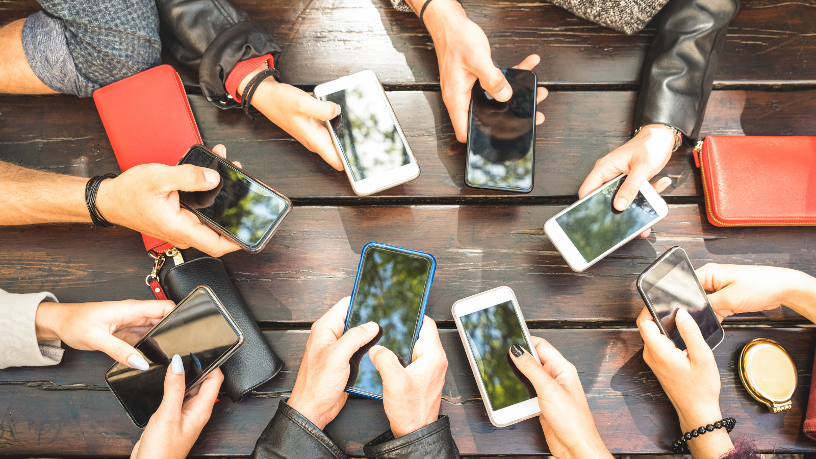 group of people holding phones, technology