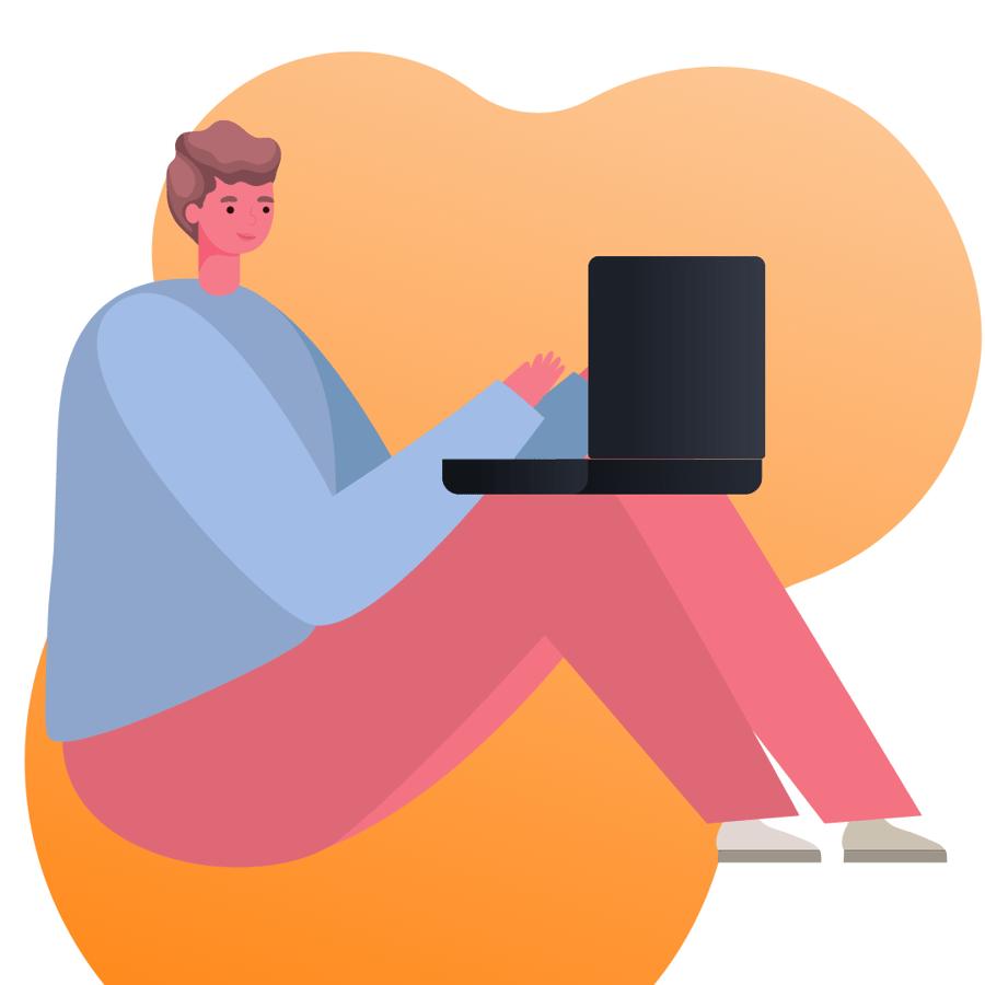 person looking at computer